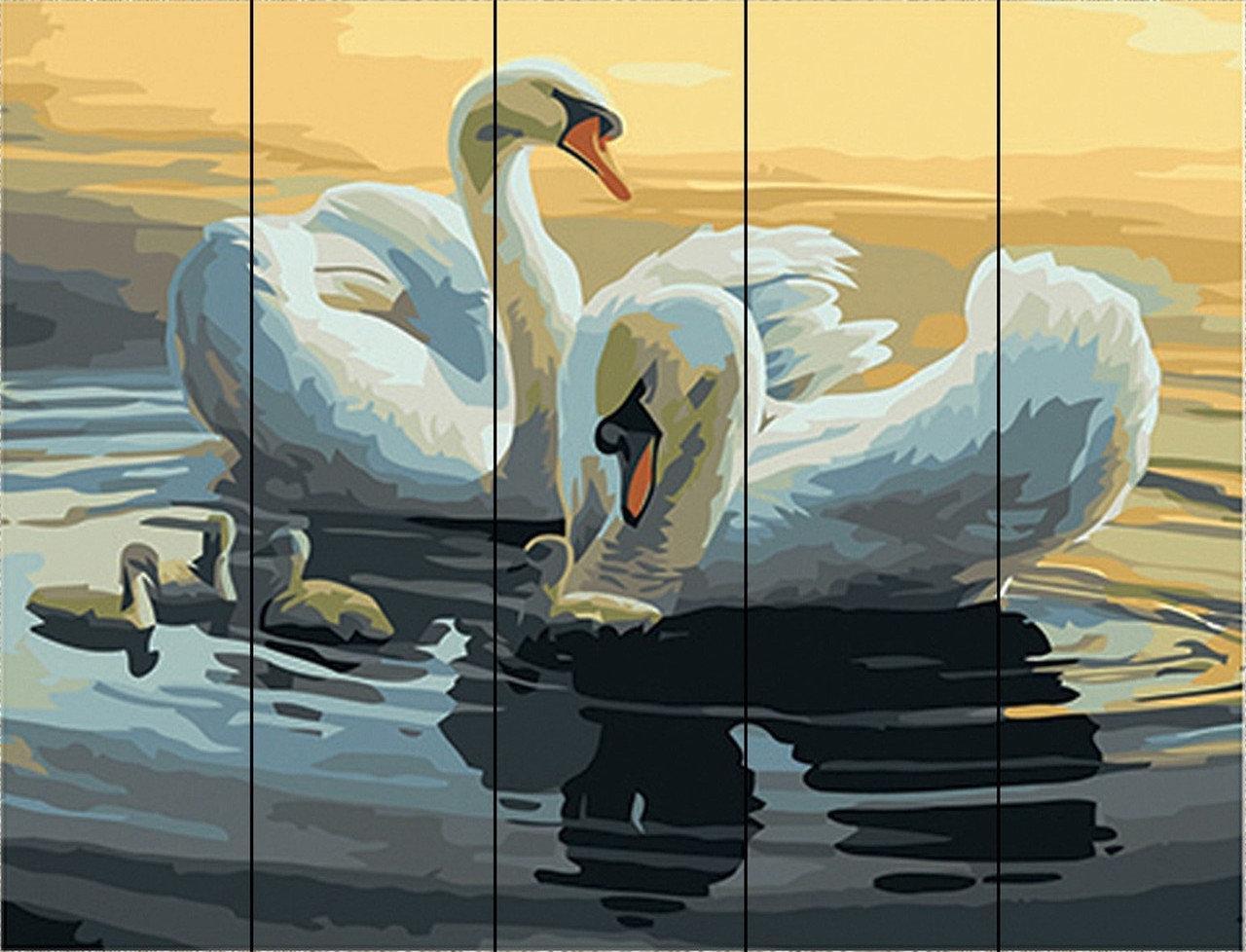 Раскраска по номерам по дереву Лебеди на пруду Rainbow Art RA-W011 40 х 50 см