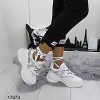 Женские белые кроссовки на танкетке и платформе, А 17073, фото 1