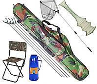 Рыболовный набор 6в1 подсак, стул, чехол, садок, подставки