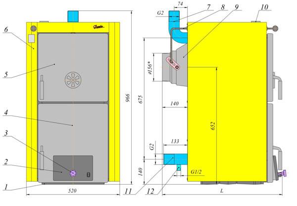 Схема котла Данко ТЛ с чугунным теплообменником