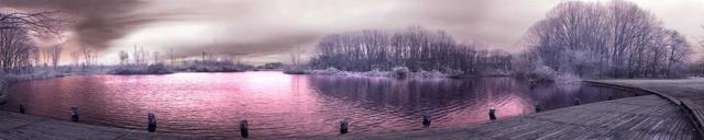 Стеклянный кухонный фартук пурпурное озеро