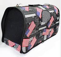 Сумка-переноска для животных Американский флаг черная, фото 1