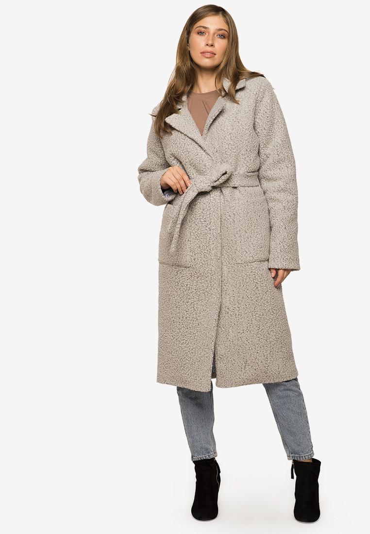 Длинное женское пальто из барашка с поясом Modniy Oazis 90396, фото 1