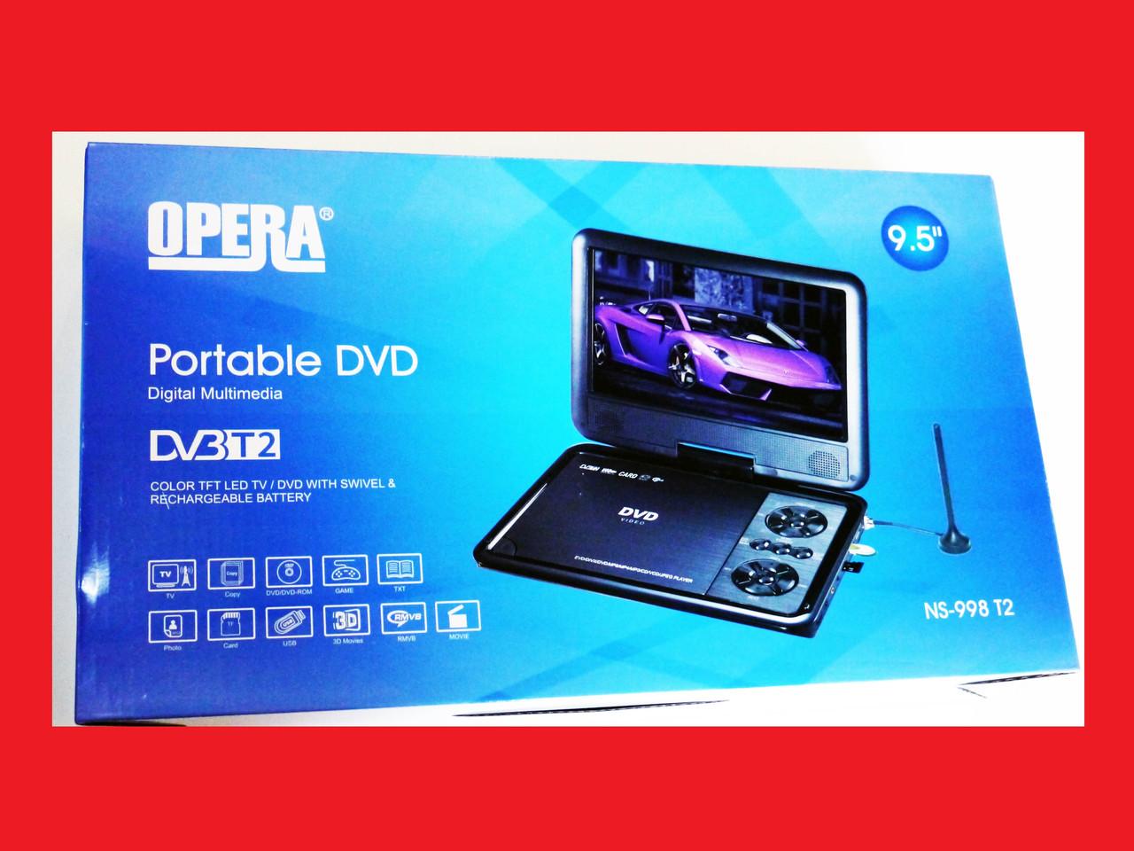 """9,5"""" DVD Opera NS-998 Портативный DVD-проигрыватель с Т2 TV USB SD"""