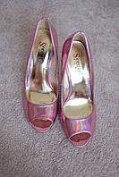 Женские туфли розовые перламутр  шпилька лак классика мода хит 36-41