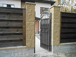 Ворота откатные кованые. Калитка кованая (пгт. Гостомель) 9