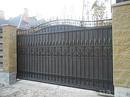 Ворота откатные кованые. Калитка кованая (пгт. Гостомель) 13