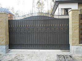 Ворота откатные кованые. Калитка кованая (пгт. Гостомель) 14