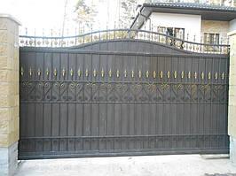 Ворота откатные кованые. Калитка кованая (пгт. Гостомель) 15