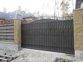 Ворота откатные кованые. Калитка кованая (пгт. Гостомель) 16