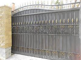 Ворота откатные кованые. Калитка кованая (пгт. Гостомель) 17