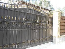 Ворота откатные кованые. Калитка кованая (пгт. Гостомель) 18