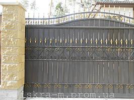 Ворота откатные кованые. Калитка кованая (пгт. Гостомель) 19
