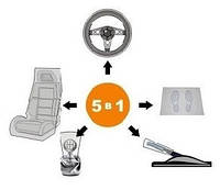 Набор одноразовых чехлов для автомобиля 5 в 1  в индивидуальной упаковке 100 упаковок