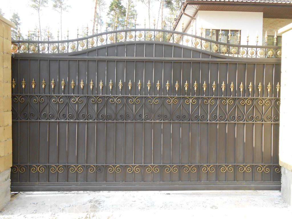 Ворота откатные кованые. Калитка кованая (пгт. Гостомель)
