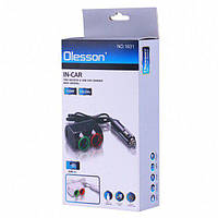 Автомобільний зарядний пристрій Olesson MOD-1631 ( 3 in 1/120W/Triple Direct LED Socket )