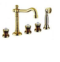Золотой смеситель врезной в борт ванны с кристаллами Сваровски Fiore Venere Sky 13OO0607