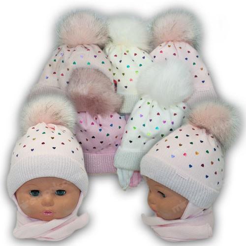 ОПТ Детский комплект - шапка и шарф (хомут) для девочки, р. 38-40 (5шт/набор)