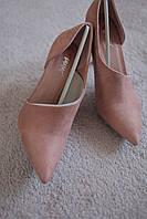 Женские туфли бежевые  классика шпилька замша ассиметрия острый нос мода  хит 36 -40