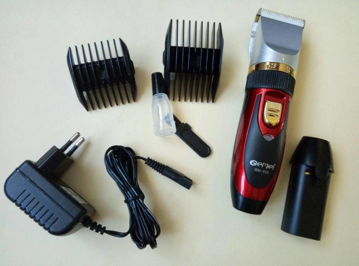 Беспроводная керамическая машинка для стрижки волос Gemei 550+ 2 аккум