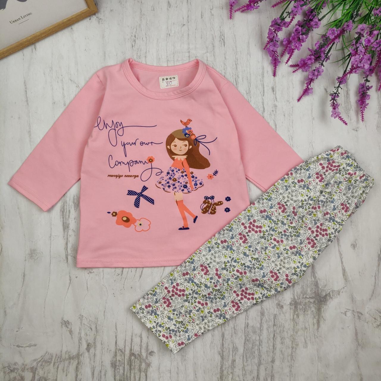Детская пижама Девочка с птичкой 90