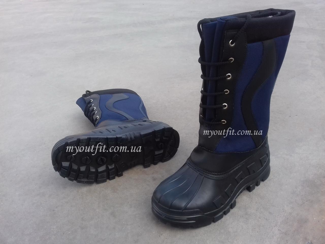 Мужские сапоги для зимней рыбалки Охоты Высокие сноубутсы на шнурках Синие | Размер 41-46 |