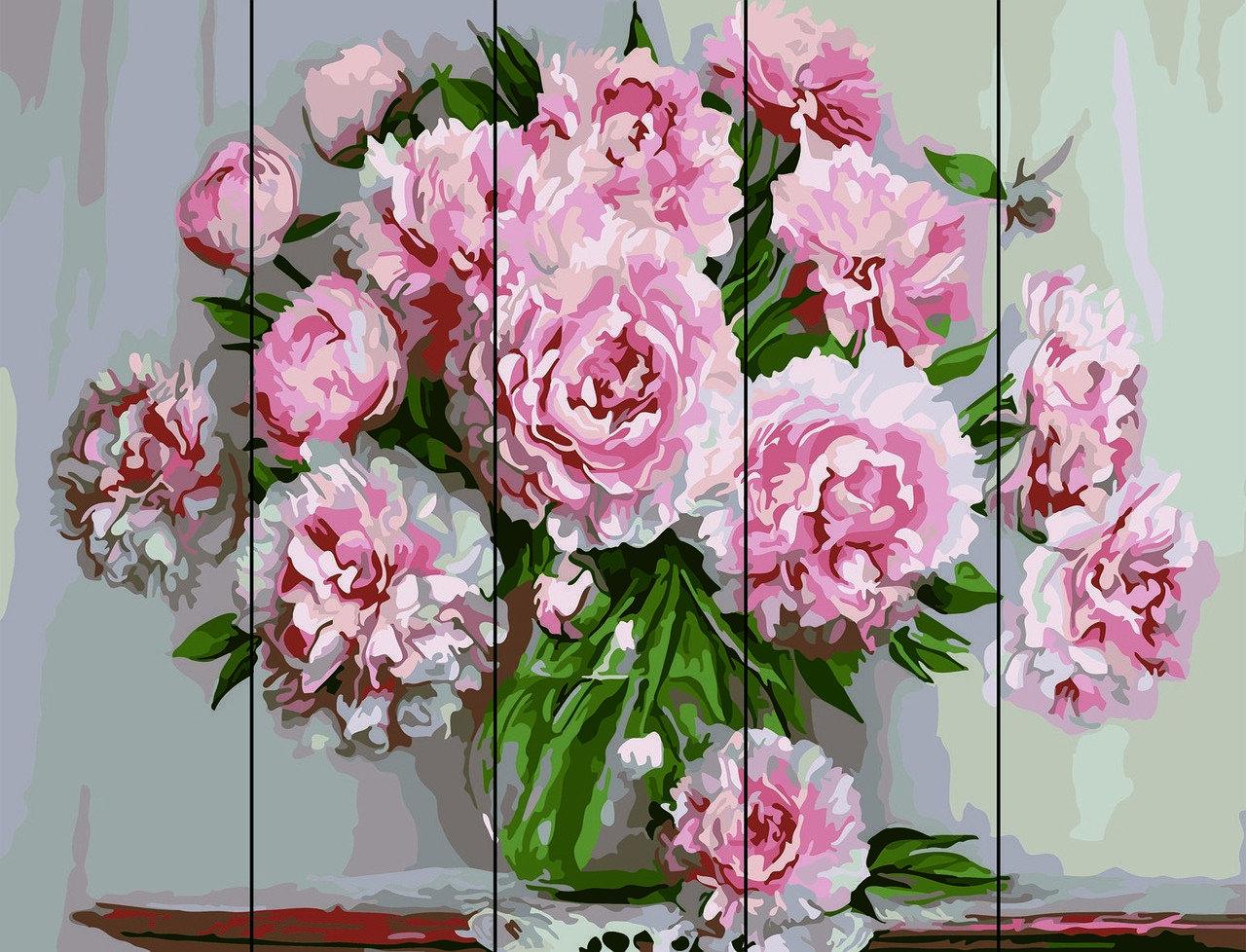 Живопись по номерам по дереву Розовые пионы Rainbow Art RA-S26 40 х 50 см