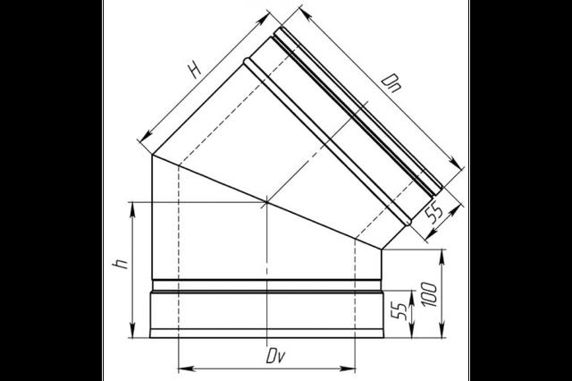 Схема дымоходного колена под 45 градусов