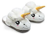 Тапочки-іграшки єдинороги молодіжні розмір універсальний 36-41 білі GS365, фото 1