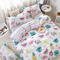Комплект постельного белья Фламинго и фрукты  (евро) Berni
