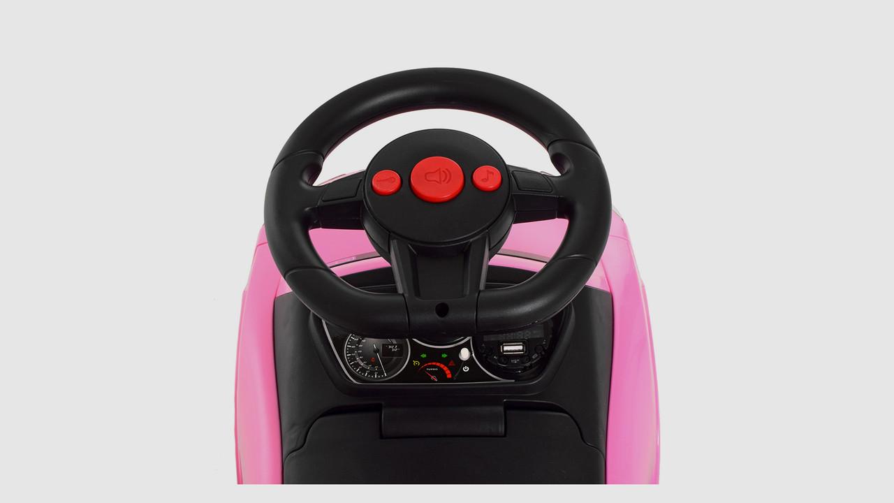 Каталка-толокар BAMBI M3503A(MP3)-8.Родительская ручка.Подставка для ног.Розовый