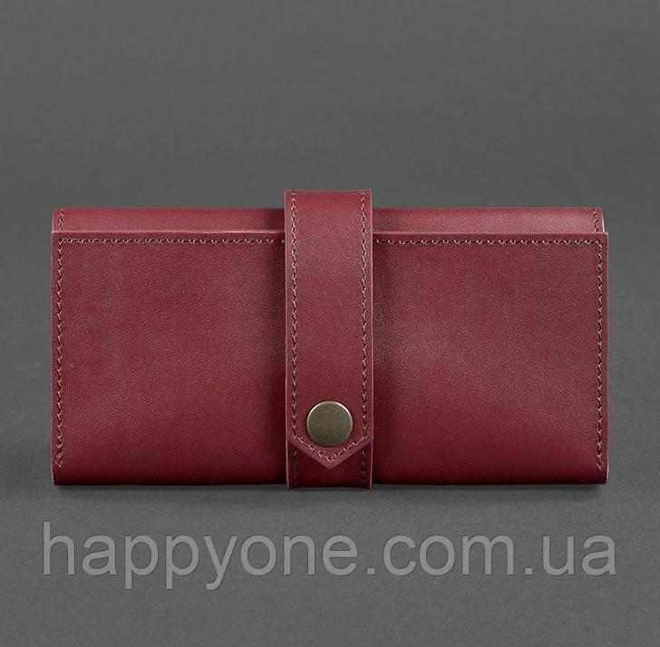 Кожаное женское портмоне 3.0 (кожа krast) бордовое