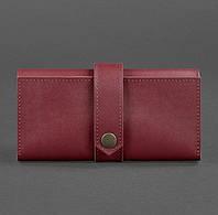 Кожаное женское портмоне 3.0 (кожа krast) бордовое, фото 1