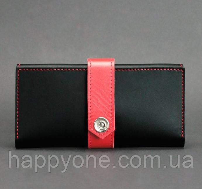 Кожаное женское портмоне 3.0 (черное с красным)