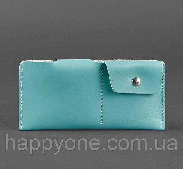 Женское кожаное портмоне-купюрник 8.0 (бирюзовое)