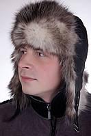 Зимняя мужская Ушанка из натурального меха опоссум