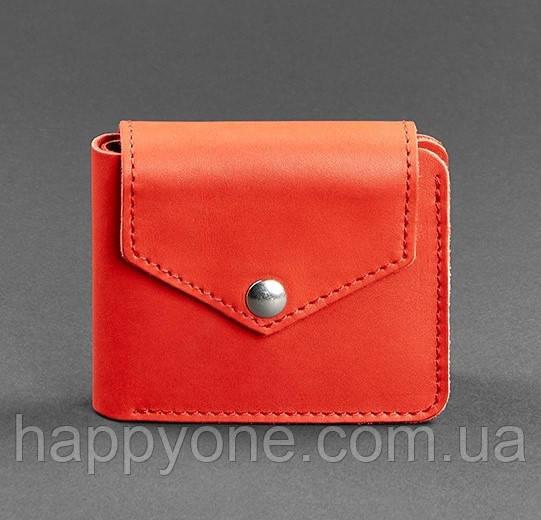 Кожаное женское портмоне на кнопке 4.2 (коралловое)