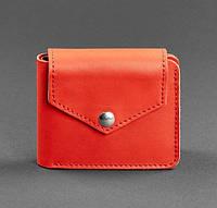 Кожаное женское портмоне на кнопке 4.2 (коралловое), фото 1
