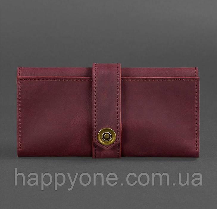 Кожаное женское портмоне 3.0 (кожа crazy horse) бордовое