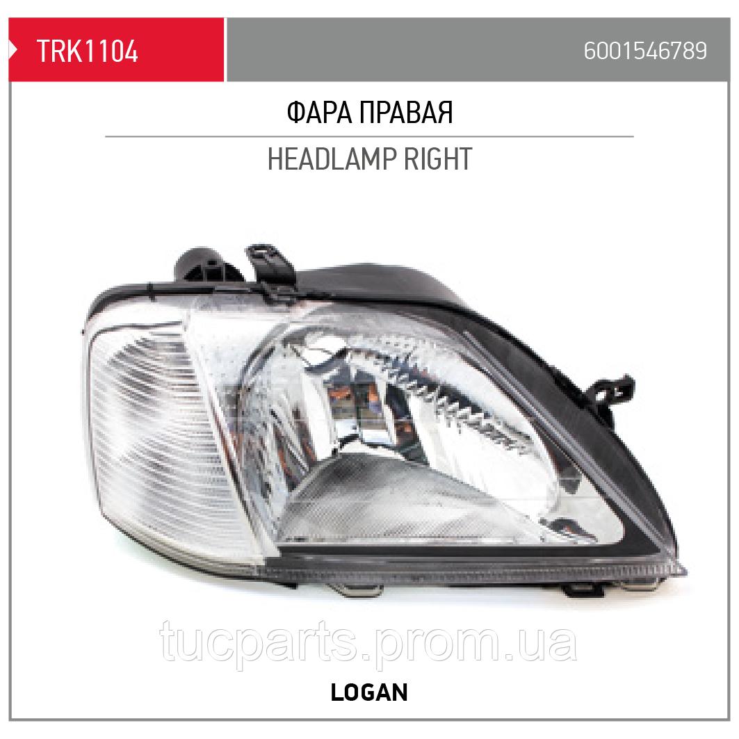 Фара правая Логан (RENAULT LOGAN) 6001546789  (Производство TORK Турция)