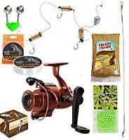 Рыболовный набор 7в1 катушка Cobra 4000 4BB кормушка, леска, прикормка