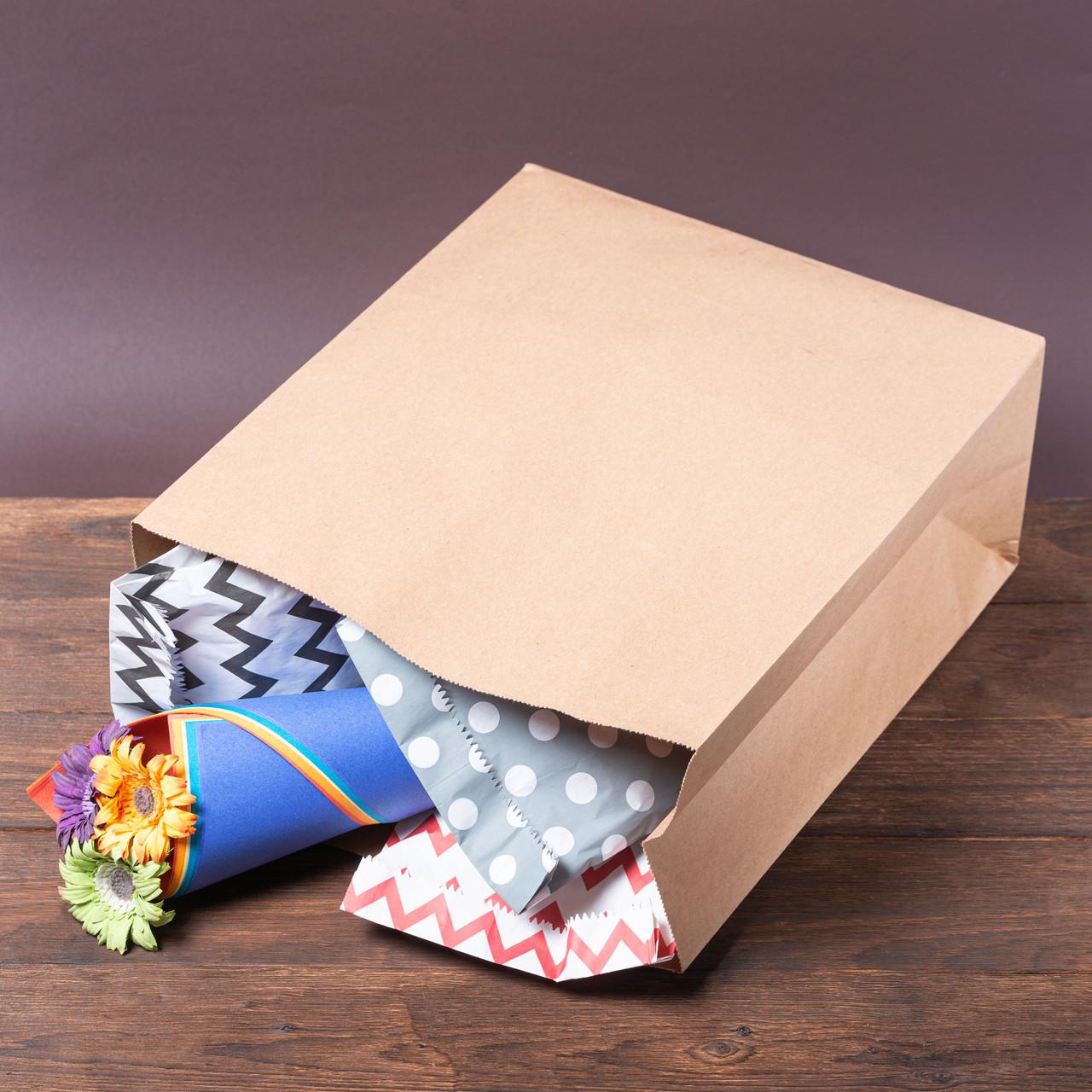 Бумажный крафт пакет с дном 320*150*380 бурый