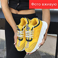 Женские кроссовки Versace 2019 желтые    Версаче 2019, кожа, кожанные