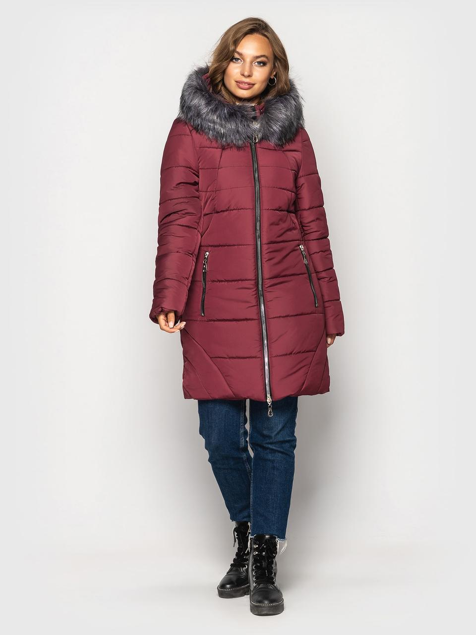 Зимняя куртка большого размера Розали бордовый(50-60)