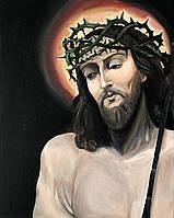 "Картина маслом на религиозную тематику ""Иисус с копьем Лонгина"" 40х50 см"