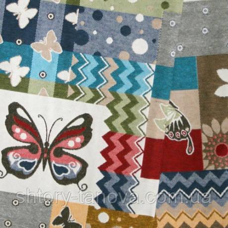 Декор жаккард бабочки большие синий