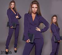 Брючный женский костюм с пиджаком на запах р. 42, 44, 46, 48