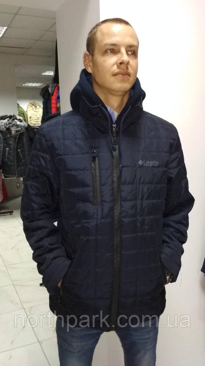 Демисезонная мужская куртка со съёмным трикотажным капюшоном, темно-синяя