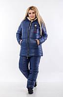Женский зимний комбинезон стеганый дутый лыжный на синтепоне и овчине, синий батал