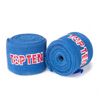 Бинт боксерский 4м, TopTen, пара, синий, черный..